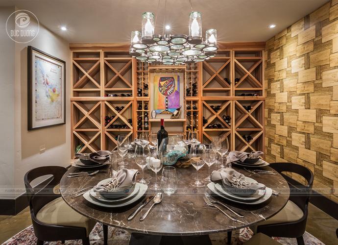 Tư vấn thiết kế tủ rượu âm tường cho nhà chung cư hiện đại