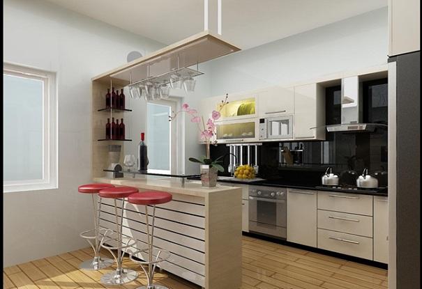 Mẫu thiết kế thiết kế quầy bar ngăn bếp và phòng khách