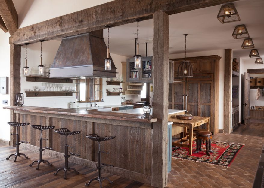 Quầy bar ngăn bếp và phòng khách cùng tông màu với căn phòng